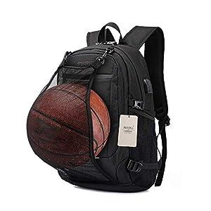 WAWJ Mochila antirrobo Impermeable, Mochila para Portátil Multiusos Daypacks con Puerto de Carga USB y Toma de Auriculares Mochila con la Red de Baloncesto (Negro)