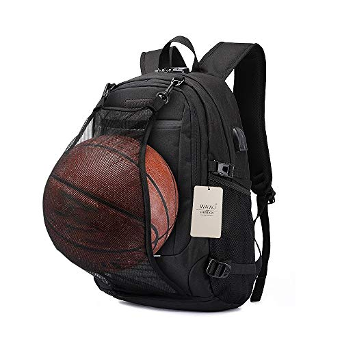 WAWJ Laptop Rucksack mit USB Ladeanschluss & Kopfhörer Jack Rucksack mit Basketball Net Wasserdichte Reise Schultasche (Schwarz)