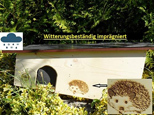 XXXL Igelhaus 80cm x 40cm x 32cm Igelhotel 18mm Tannenholz Witterungsbeständig Winterfest IMPRÄGNIERT Labyrintheingang easytouch-Rattenklappe und Boden, Herstellung in Niederbayern