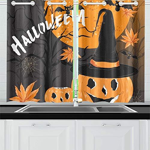 JOCHUAN Happy Halloween Night Withmoonbatshorror Typotreespumpkineyeshats Küchenvorhänge Fenstervorhangebenen für Café Bad Wäscherei Wohnzimmer Schlafzimmer 26 * 39 Zoll 2 Stück