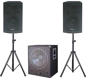 Ibiza Cube1512 2.1 DJ Lautsprecher PA Set aktiver Subwoofer mit Satellit-Stativ-Boxen (1400W max,2x Mirkorfon-Eingang, inkl. Tasche) schwarz