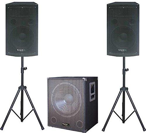 Ibiza Cube1512 2.1 DJ Lautsprecher PA Set aktiver Subwoofer mit Satellit-Stativ-Boxen (1400W max,2X Mirkorfon-Eingang, inkl. Tasche) schwarz (1400 Tasche)