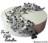48 x Vorgeschnittene schöne schwarze & graue Schmetterlinge essbares Reispapier/Oblatenpapier Kuchendekoration, Dekoration für Cupcake Kuchen Dessert, für Geburtstag Party Hochzeit Babyparty Halloween (S)