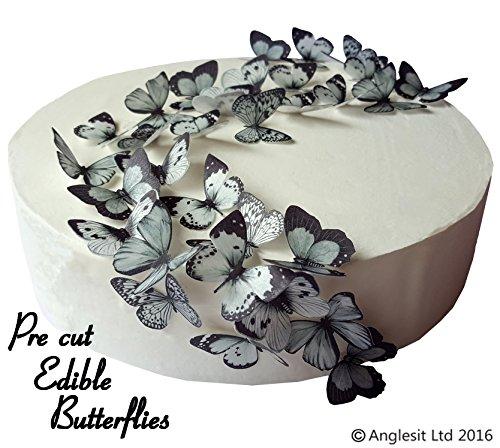schöne schwarze & graue Schmetterlinge essbares Reispapier/Oblatenpapier Kuchendekoration, Dekoration für Cupcake Kuchen Dessert, für Geburtstag Party Hochzeit Babyparty Halloween (S) (Halloween Dekoration Cupcakes)
