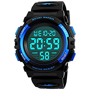 BHGWR Jungen Digitaluhren, Kinder Sport 5 ATM wasserdicht Digital Uhren mit Alarm/Timer/El Licht, Blau Kinderuhren Outdoor Armbanduhr für Jugendliche Jungen