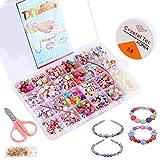 Pulluo 24 Tipos Cuentas para Hacer Pulseras Kit para Hacer Bisutería DIY Pulseras Collares Abalorios Perlas de Resina Acrílica Abalorios Colores con Pulseras Joyas Manualid para Niños Niña Regalo