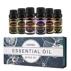 Ätherische Öle 100% Pur und Naturrein Aromatherapie Duftöl 6 verschieden Aromen Lavendelöl, Teebaumöl, Pfefferminzöl, Zitronengrasöl, Orangenöl, Rosenöl Aroma Öle für diffuser (10ML*6 Flaschen)