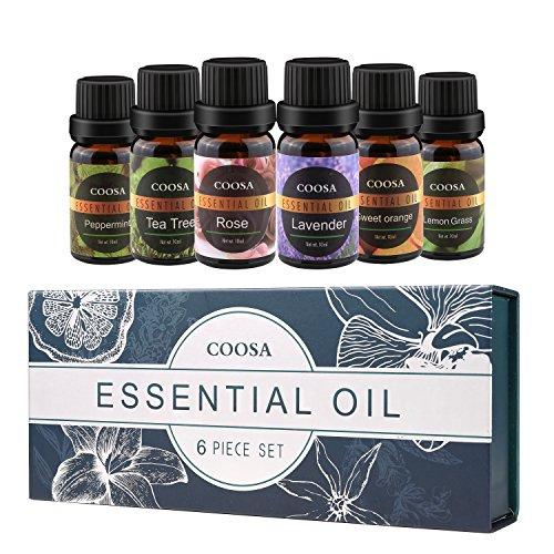 Ätherische Öle 100% Pur und Naturrein Aromatherapie Duftöl 6 verschieden Aromen Lavendelöl, Teebaumöl, Pfefferminzöl, Zitronengrasöl, Orangenöl, Rosenöl Aroma Öle für diffuser (10ML*6 Flaschen) (Beliebteste Produkte)