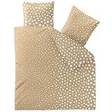 Parure Lenzuola 100% cotone 4stagioni | Molte misure | Trend Tabea | punti di sabbia beige bianco | Aqua di tessile 200 x 220 cm bianco