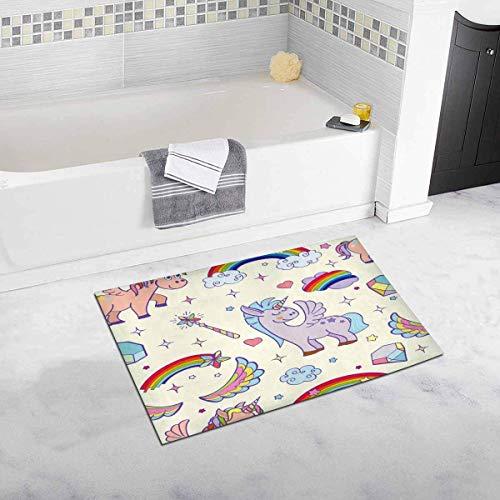 Soefipok Alfombra de baño y Ducha de Unicornios Antideslizante,