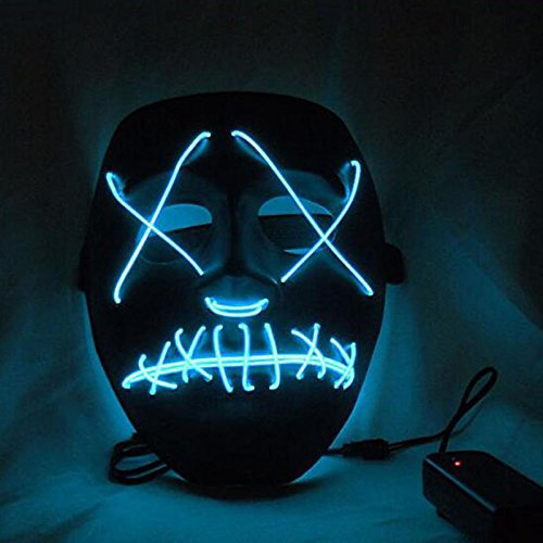 Rokoo LED leuchtet blinkende Schädel Maske Skelett Halloween Rave Party Favor (Purge 2 Masken)