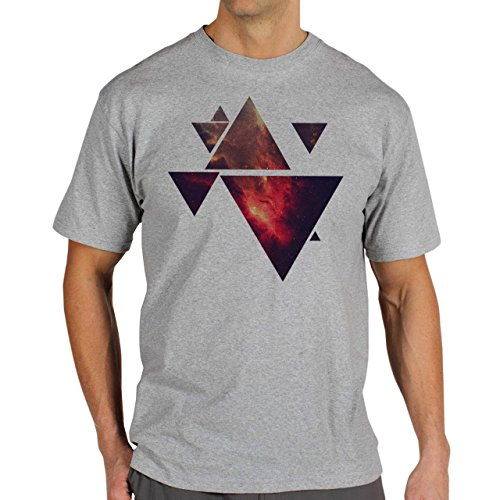 Illuminati Triangle Art Majestic Space Fire Triangles Herren T-Shirt Grau