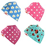 Baby Bandana Dribble Bib Super Absorbent Premium Dribble Bibs Adjustable Poppers (4 Pack Gift Set Baby Shower) ~ Multi-Award Winning ~ Gift Of The Year Finalist ~ 200+ Designs ~ UK Family Company ~ Official Brand License partner ~ Stocked on Amazon since 2012 ~ Baby Boy Bibs ~ Baby Girl Bibs ~ Unisex Gender Neutral Bibs, Drool Bibs, Teething Bibs, Drooling Bibs ~ Fit Newborn Infant Toddler, 0 months, 6 months (Funky Brights)
