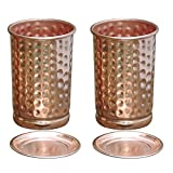 Hammered Copper Tumbler Set of 2 with LID | Traveller's Copper Mug | Ayurveda Health Be... Best Review Guide