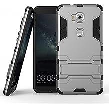Funda para Huawei Honor 5X (5,5 Pulgadas) 2 en 1 Híbrida Rugged Armor Case Choque Absorción Protección Dual Layer Bumper Carcasa con pata de Cabra (Gris)