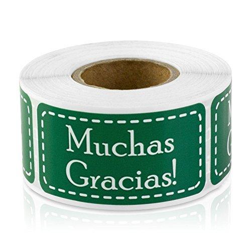 Muchas Gracias Spanisch vielen Dank 2,5x 5,1cm Etiketten Aufkleber-parent 1 Roll