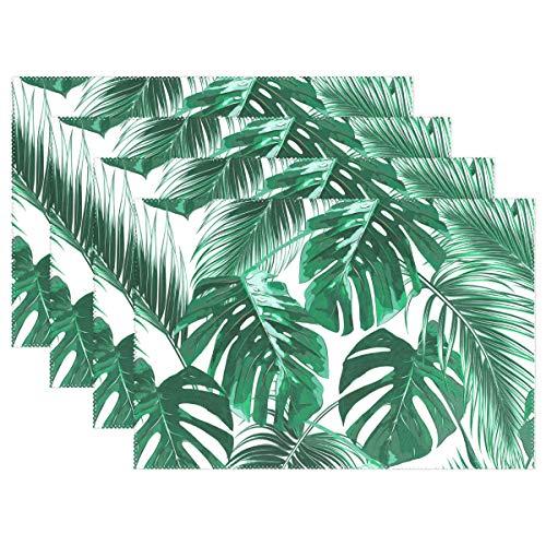 WAMIKA Platzdeckchen Set of 1, Tropical Palm Blätter Wärmedämmung schmutzabweisend rutschfest Mats Platzsets 30,5 x 45,7 cm für Esstisch Küche Abendessen Banquet ... -