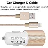 IWAVION Car Charger (4.8A/24W) with 3FT/1M Nylon Braided Lightning to USB Cable for Apple iPhone 7/7 Pls/6s/6s Plus/6/6 Plus/5s/5c/5, iPad Mini/Air/Pro, iPod, Samsung Galaxy S7/Edge/Note (Gold)