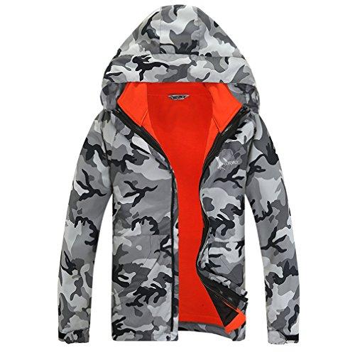 SYRINX Damen 3 in 1 Camo Winddicht Wasserdicht Atmungsaktiv Mantel Frauen Outdoor Sport Camping Wandern Ski Jacke (3X-Large, Grau Camo) (Ski 179cm)