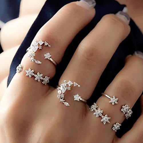 Hunpta@ @ 5anelli set New Bohemian vintage donne in lega a forma di stella luna finger anelli, Silver, 6