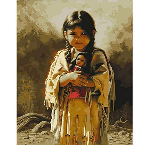 CBUSYS Rahmenlose DIY Bild Ölgemälde Durch Zahlen Wanddekor Malerei Auf Leinwand Für Wohnkultur 40 * 50 cm Kleines Mädchen