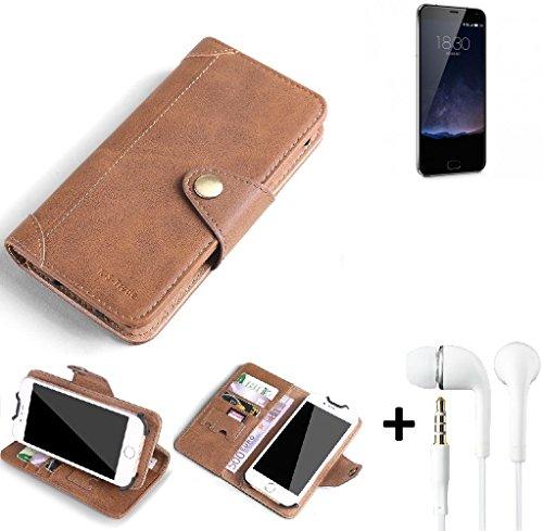 K-S-Trade® Schutzhülle für Meizu Pro 5 Mini Hülle Tasche Handyhülle Handytasche Wallet Flipcase Cover Handy Tasche Kunsteleder Braun Inkl. in Ear Headphones