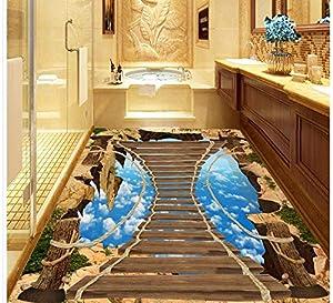 comprar suelo radiante: Suelo impermeable del Pvc 3D Piso azul del papel pintado del cielo azul 3D de la...