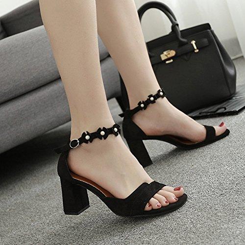 XY&GKNackten Zehen Schnalle Schnalle's Sandalen Frauen Sommer Sommer dicke Ferse High-Heeled Sandalen Sandalen mit Rom einfach, komfortabel und schön 39 black