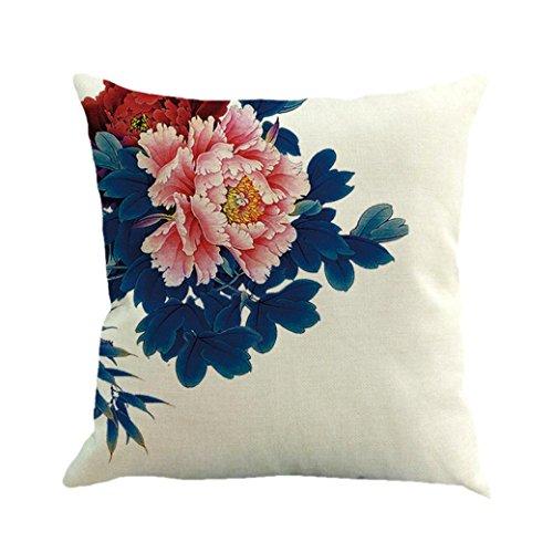 Dekorative Kissenbezug Hevoiok Rose Blumen Sofa Taille Wurf Kissenüberzug Sofakissen Abdeckungs Bett Kissenhülle 45 x 45 cm (C)
