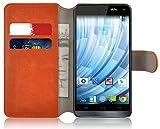 Wiko Getaway Lederhülle | JAMMYLIZARD Handyhülle [ Retro Series ] Ledertasche Flip Case Cover Hülle Leder Schutzhülle mit Kartenfach, Orange