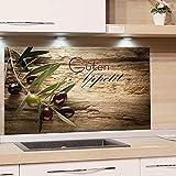 GRAZDesign 200117_100x60_SP Spritzschutz Glas für Küche/Herd | Bild-Motiv Olivenzweig mit Schrift | Küchenrückwand Küchenspiegel Glasrückwand (100x60cm)
