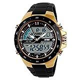 Meily Hombre de pantalla dual impermeable multifunción LED reloj deportivo Alarma Nuevo (Oro)