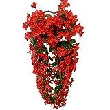 VORCOOL Hängenden Künstliche Blumen Veilchen Girlande Kranz Hochzeit Haus Dekoration (Rot)