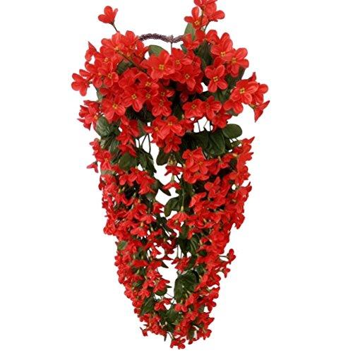 VORCOOL 4petals Künstlich hängende Blumen, Blauregen Hängende Kunstblumen für Hochzeit Haus Dekoration (rot)