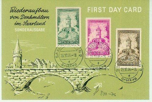First Day Card - Saarland - Wiederaufbau von Denkmälern im Saarland - 1956 - Sonderausgabe - Winterbergdenkmal Saarbrücken - 5+2/12+3/15+5F [3 Briefmarke, Saar, gestempelt, Ersttagsbrief, Saar, MI.373,374,375] -