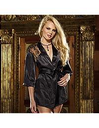 Tenflyer Ropa interior del cordón de Rose Albornoz sin respaldo de dormir camisón Ropa de noche atractiva de la ropa interior + T-back