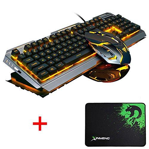 Lexonelec Gaming tastiera e mouse set Combo cablata V1 LED retroilluminato Multimedia USB gioco portatili metallo impermeabile + 3200DPI regolare 7 colori respirare Light set + ottico gamer Mouse