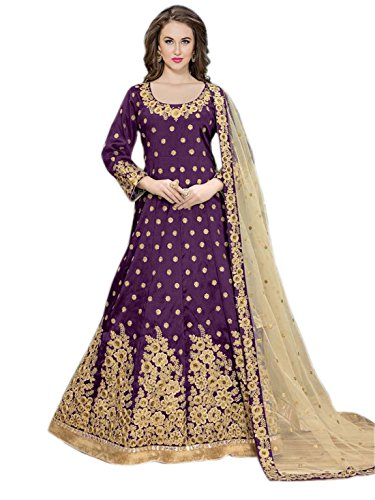 Shoppingover New Collection Fashionable Bollywood Designer Anarkali Salwar Suit-Purple Color