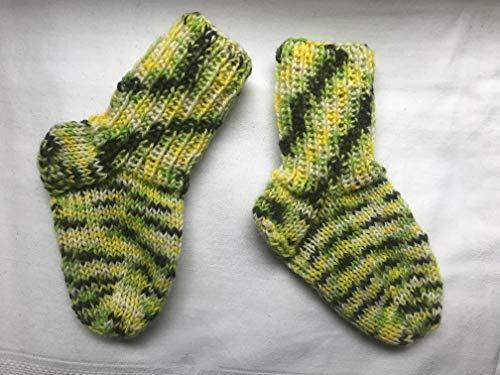 Wollsocken 11cm, gestrickte Babysocken Kindersocken Gr. 18/19 für Kleinkind, limonen-gelb, passend für 9-12 Monate
