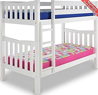 Airsprung Hampton Wooden Bunk Bed Frame - White - Single 3ft - No Drawers - low-cost UK light shop.