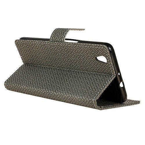 YHUISEN ZTE V7 Max Case, Weave Pattern Magnetverschluss PU Leder Brieftasche Flip Folio Schutzhülle für ZTE V7 Max ( Color : Blue ) Gray