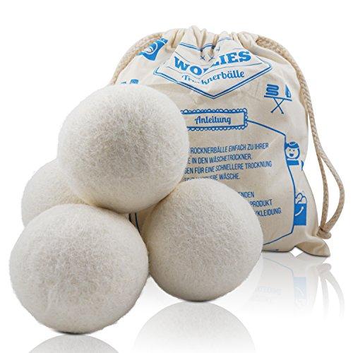 Trocknerbälle - Bälle aus 100% Schafswolle zur Nutzung im Wäschetrockner, für schnelleres Trocknen und weichere Wäsche. Zeit und Kosten sparen durch Trocknerbälle für jede Wäsche, Decke, Kissen, Kopfkissen oder Daunen im Trockner. Schonende Trocknerkugeln für Wäschetrockner.
