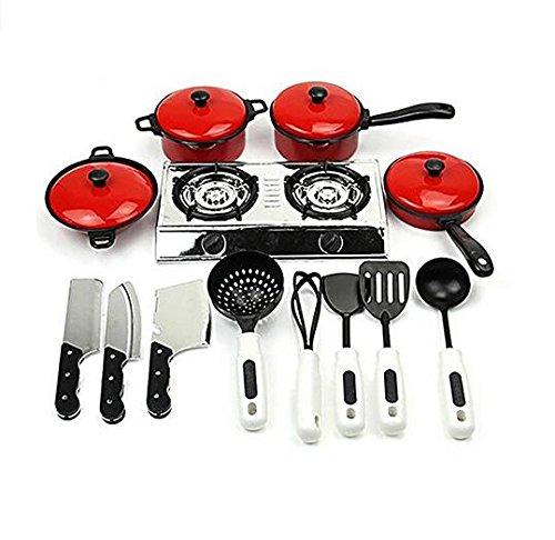 BRZM Fashion Supplies 13 Pcs Kids Play Toy Children's Kitchen Tools Kitchen Utensils Cookware Set (Red) Essential Gift