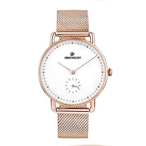 URBANHELDEN Armbanduhr Cronos Mesharmband - Damenuhr Edelstahl, Mineralglas, Quarzwerk, 34 mm - Chronograph Uhr - Metall Armband in Weiß Rosegold