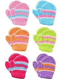 6 Paires Gants d Hiver Chauds Colorés pour Enfants Gants de Doigts Complets  Extensibles à Rayures Gants à Tricoter en… 43d25de5350