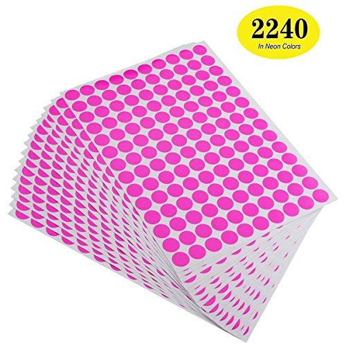 onupgo 2240Stück rund Farbe Codierung Etiketten Kreis dot Aufkleber, 3/10,2cm fluoreszierende Etiketten Dot Aufkleber, Bright Neon Farben Label Neon - Pink