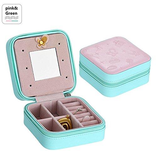 Escomdp Petit Cuir Portable Voyage Boîte à bijoux Organisateur Stockage d'affichage Cas avec miroir (Rose-vert)