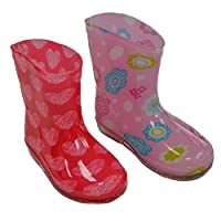 Mellow Be Soft Touch Baby Girl rain/Wellington Boots. Choice of Two Colours Red with Hearts and Pink with Flowers. to fit Ages 15-24 Months (UK19-21)