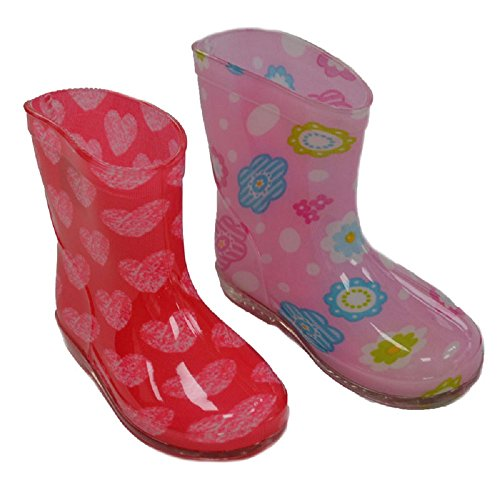 Soft Touch Baby Girl rain/Wellington Boots. Choice of Two Colours Red with Hearts and Pink with Flowers. to fit Ages 15-24 Months (UK19-21)