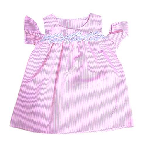 Nadelstreifen Button-down-shirt (Mutter und Tochter Kleid gestreift passende Mutter Mädchen Shirt Kleid Familienkleider, bluestercool Trägerloses Kleid mit Nadelstreifen für Familien)